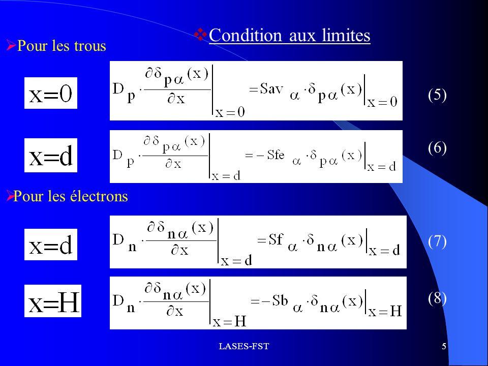 Condition aux limites Pour les trous (5) (6) Pour les électrons (7)