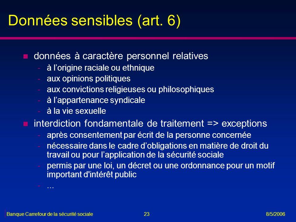 Données sensibles (art. 6)