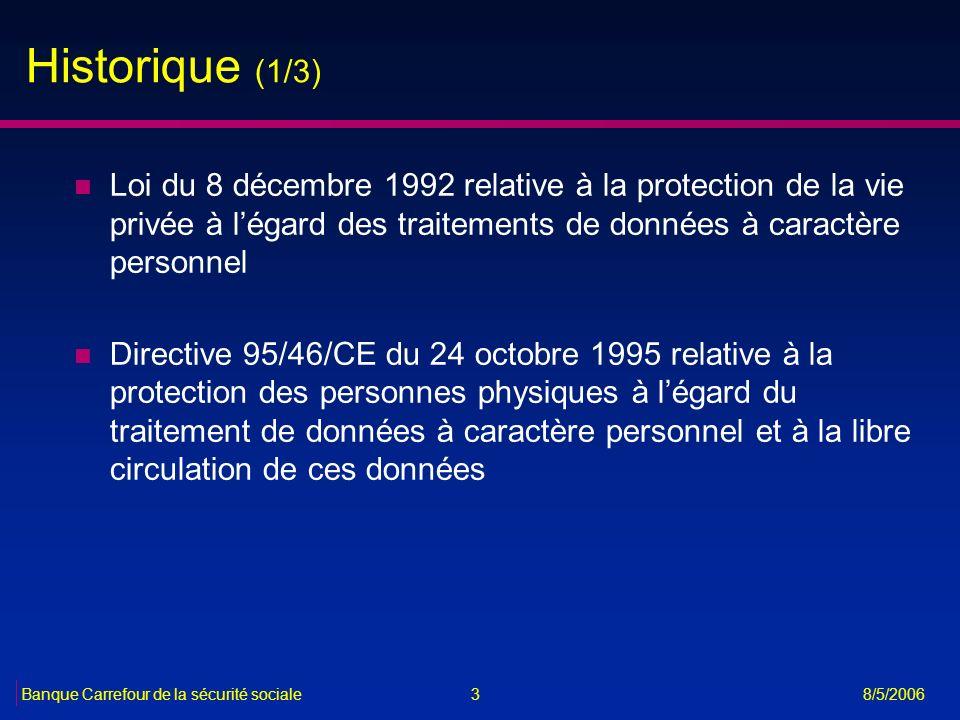 Historique (1/3) Loi du 8 décembre 1992 relative à la protection de la vie privée à l'égard des traitements de données à caractère personnel.