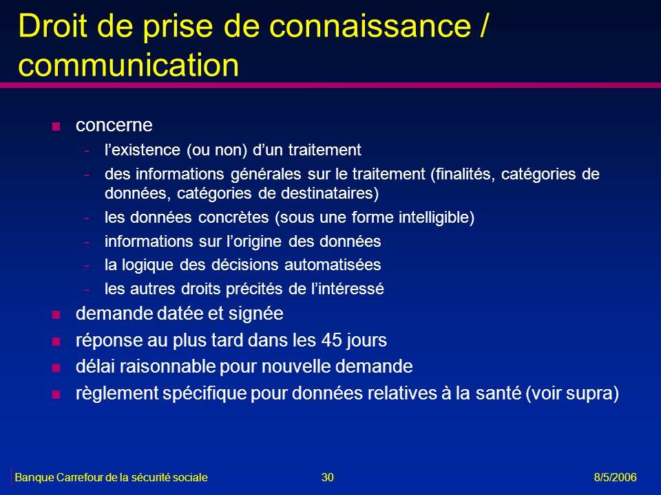 Droit de prise de connaissance / communication