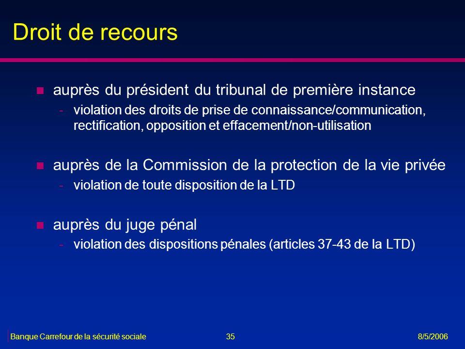 Droit de recours auprès du président du tribunal de première instance