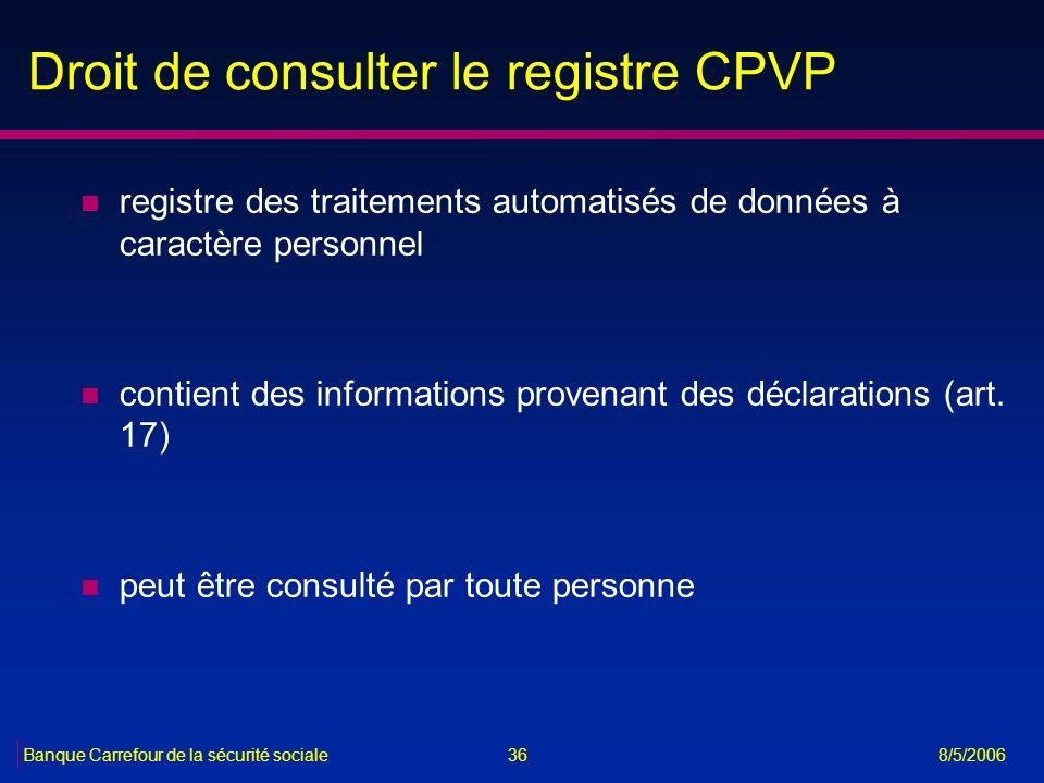 Droit de consulter le registre CPVP