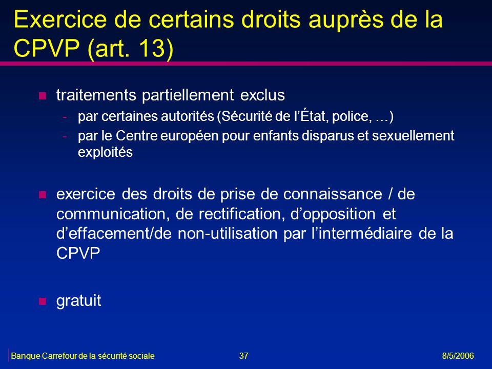 Exercice de certains droits auprès de la CPVP (art. 13)