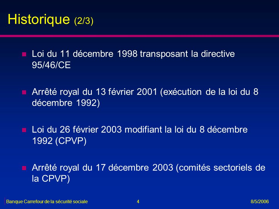 Historique (2/3) Loi du 11 décembre 1998 transposant la directive 95/46/CE. Arrêté royal du 13 février 2001 (exécution de la loi du 8 décembre 1992)