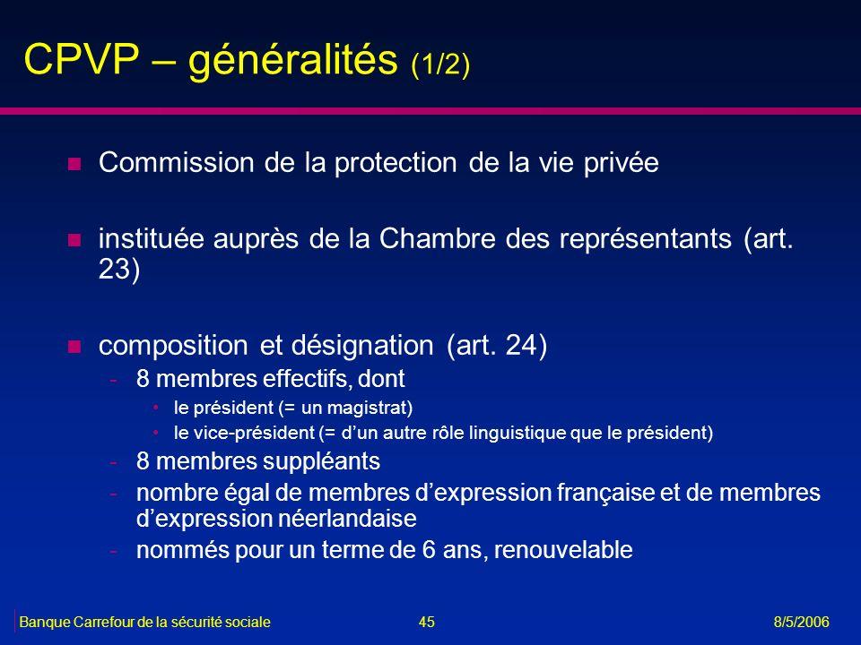 CPVP – généralités (1/2) Commission de la protection de la vie privée