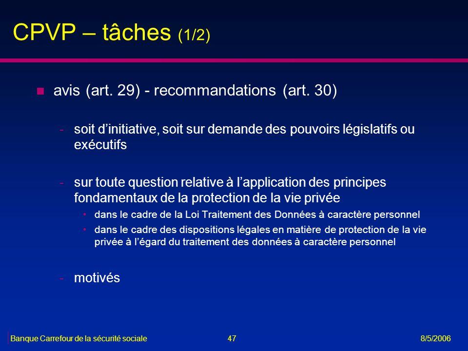 CPVP – tâches (1/2) avis (art. 29) - recommandations (art. 30)