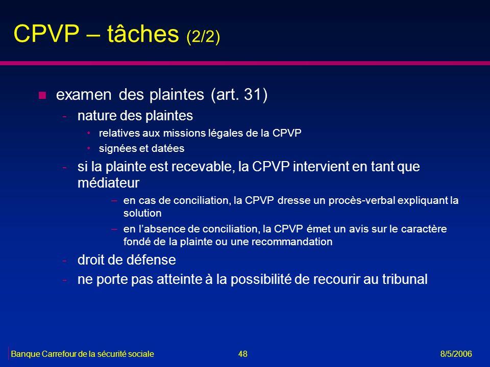 CPVP – tâches (2/2) examen des plaintes (art. 31) nature des plaintes