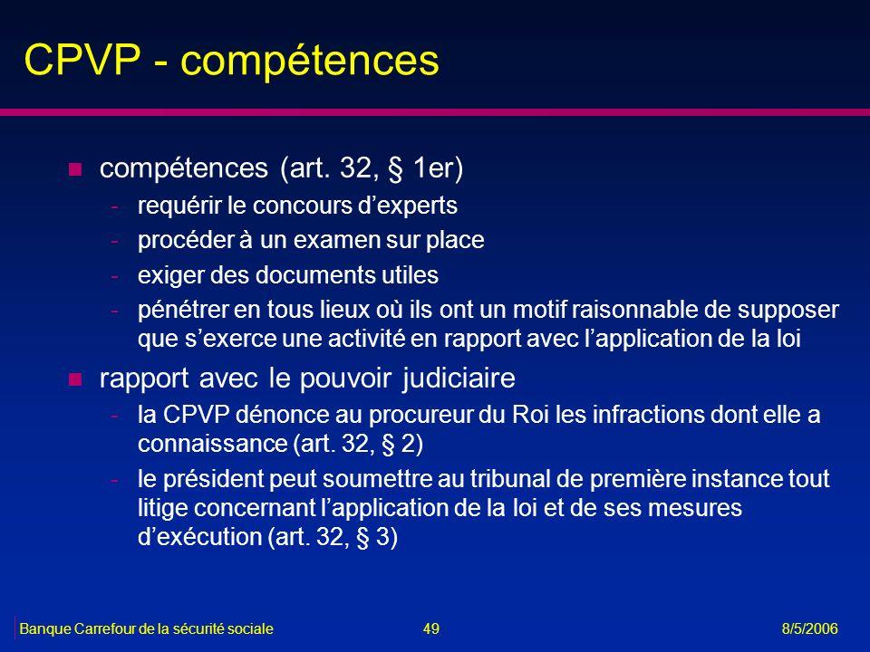 CPVP - compétences compétences (art. 32, § 1er)