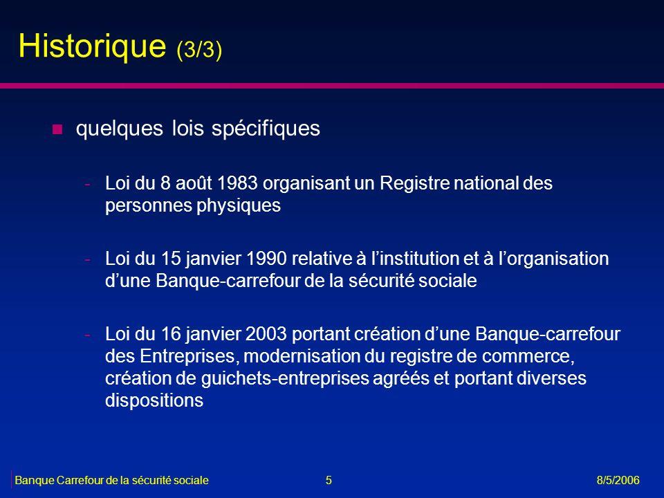 Historique (3/3) quelques lois spécifiques