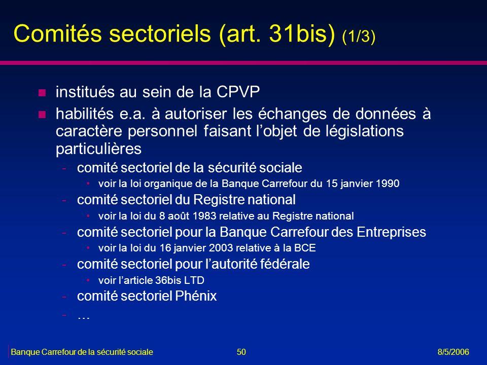 Comités sectoriels (art. 31bis) (1/3)