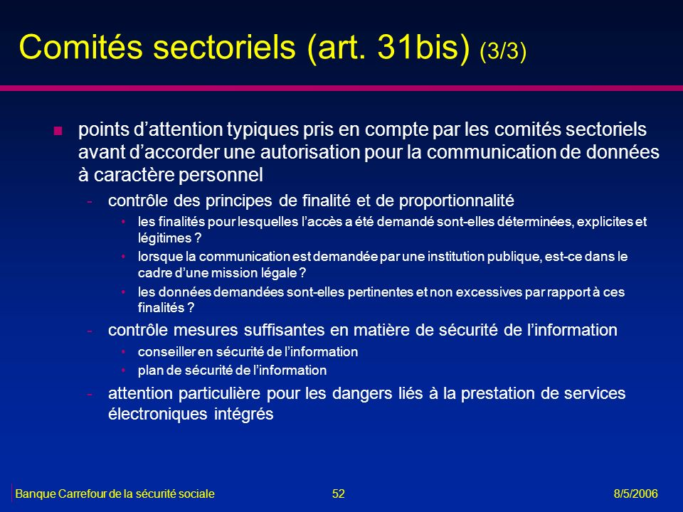 Comités sectoriels (art. 31bis) (3/3)