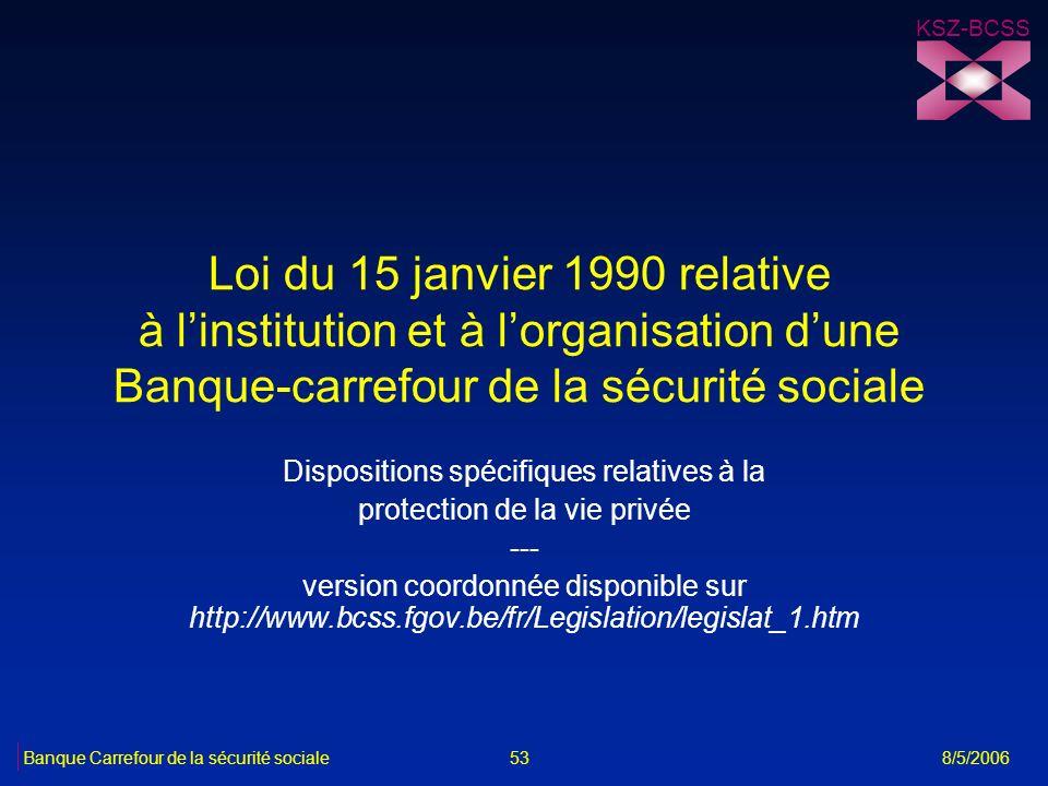 KSZ-BCSS Loi du 15 janvier 1990 relative à l'institution et à l'organisation d'une Banque-carrefour de la sécurité sociale.