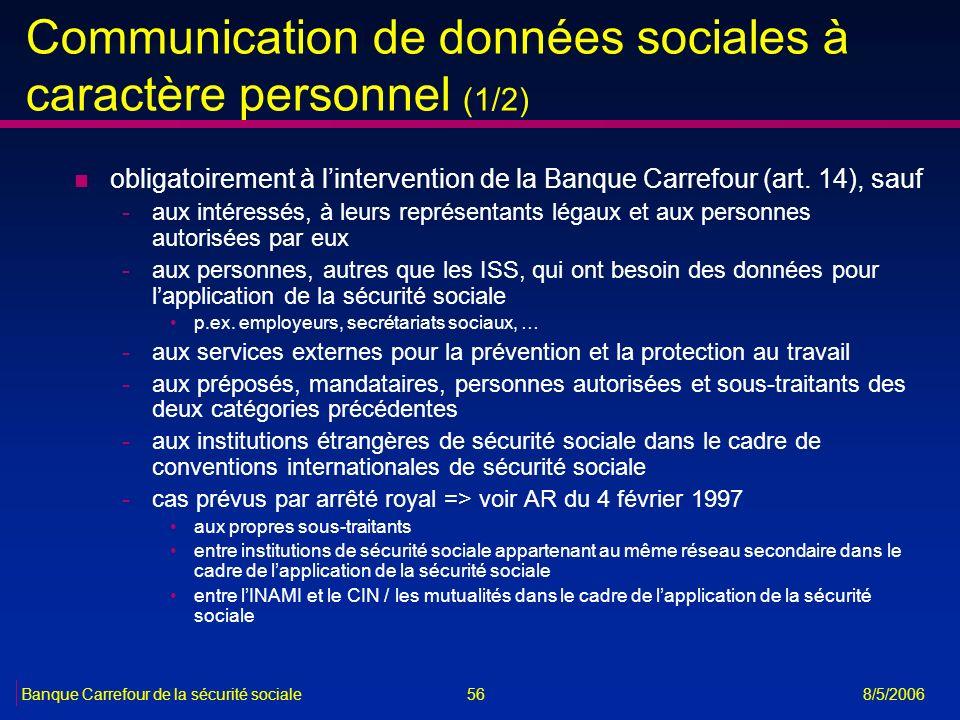 Communication de données sociales à caractère personnel (1/2)