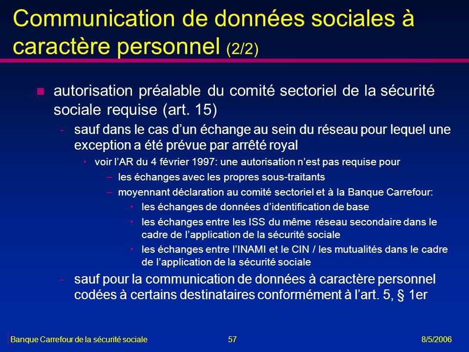 Communication de données sociales à caractère personnel (2/2)