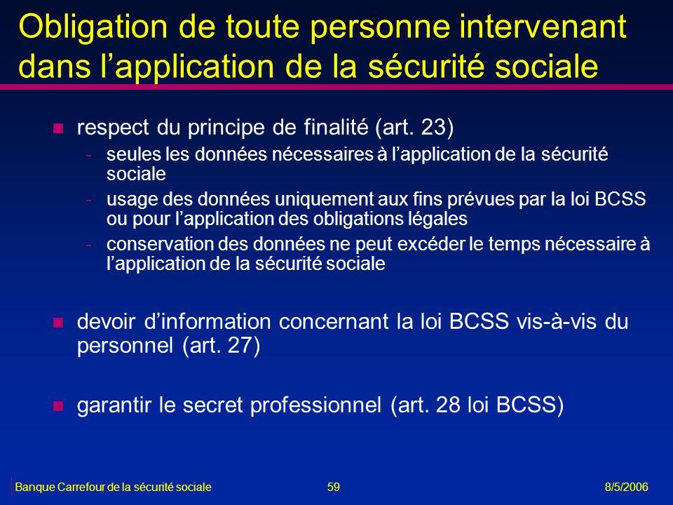 Obligation de toute personne intervenant dans l'application de la sécurité sociale