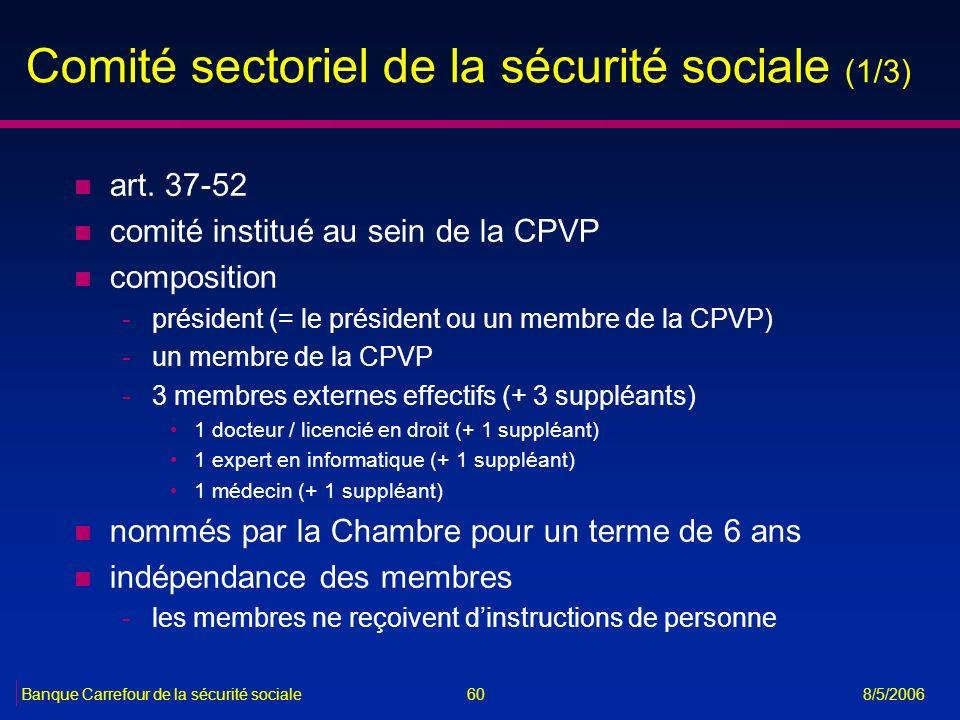 Comité sectoriel de la sécurité sociale (1/3)