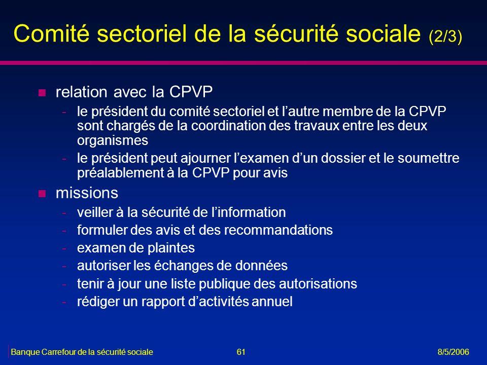 Comité sectoriel de la sécurité sociale (2/3)