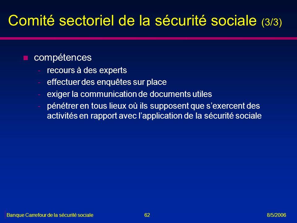 Comité sectoriel de la sécurité sociale (3/3)