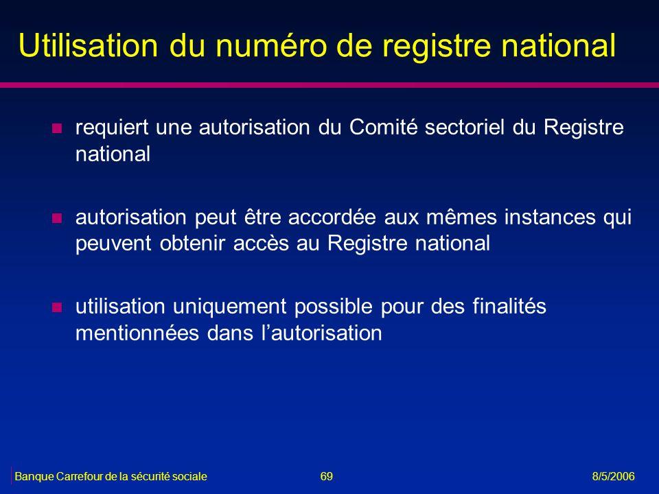 Utilisation du numéro de registre national
