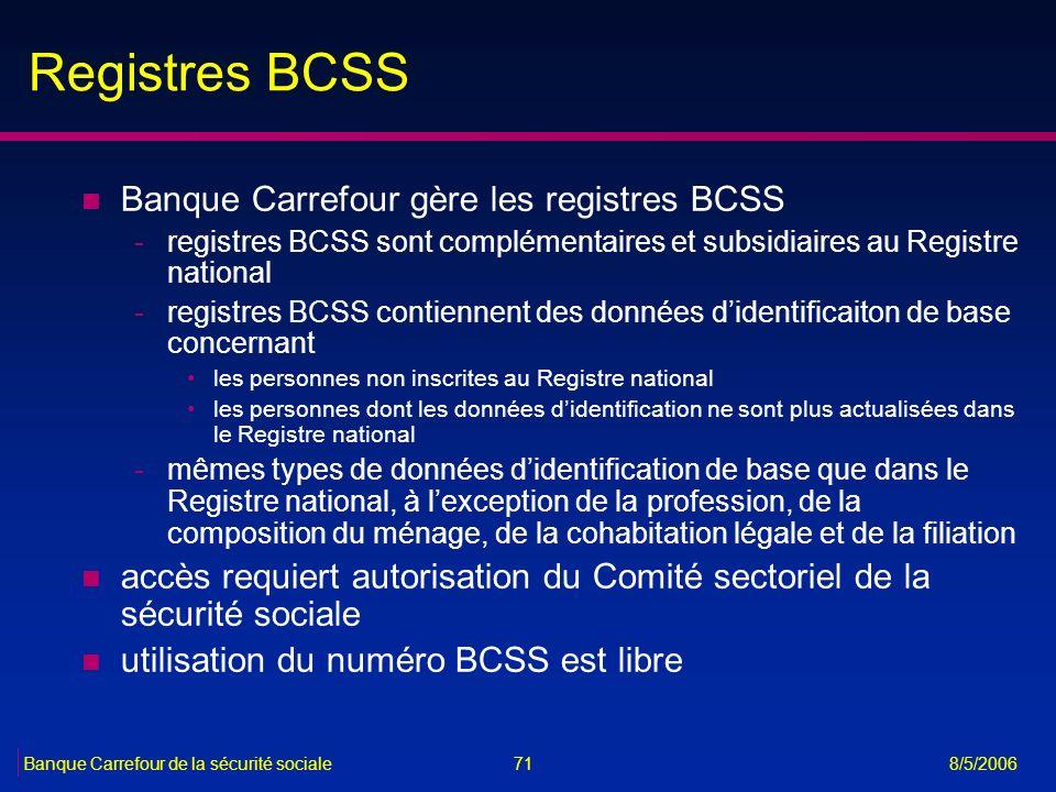 Registres BCSS Banque Carrefour gère les registres BCSS