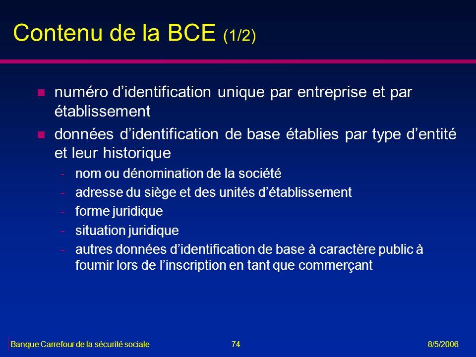 Contenu de la BCE (1/2) numéro d'identification unique par entreprise et par établissement.