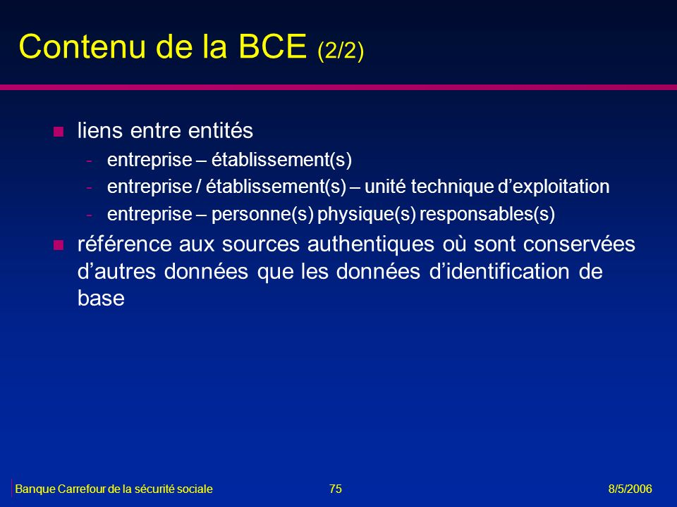 Contenu de la BCE (2/2) liens entre entités