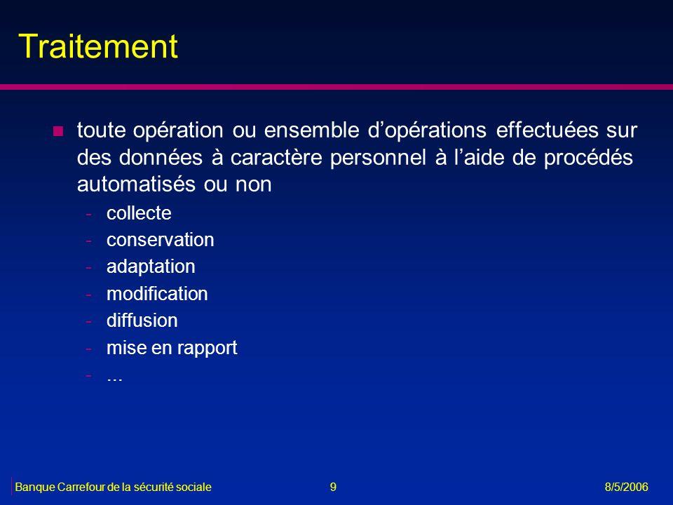 Traitement toute opération ou ensemble d'opérations effectuées sur des données à caractère personnel à l'aide de procédés automatisés ou non.