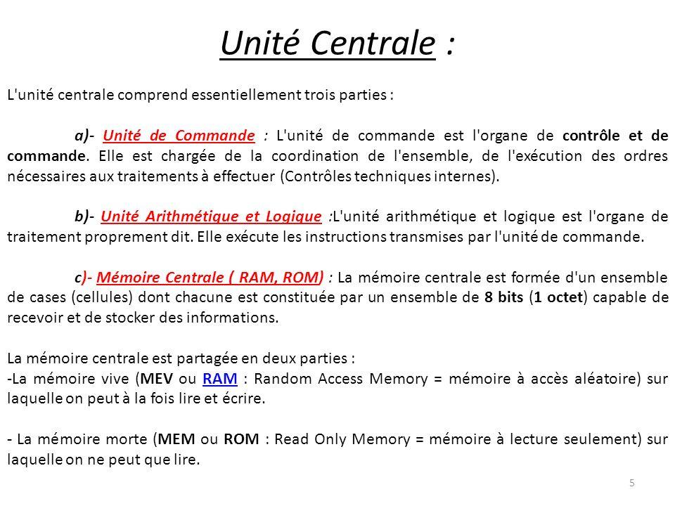 Unité Centrale : L unité centrale comprend essentiellement trois parties :