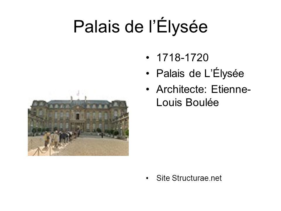 Palais de l'Élysée 1718-1720 Palais de L'Élysée