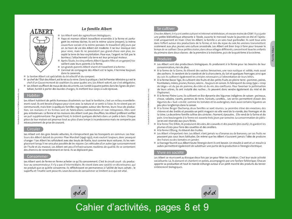 Cahier d'activités, pages 8 et 9
