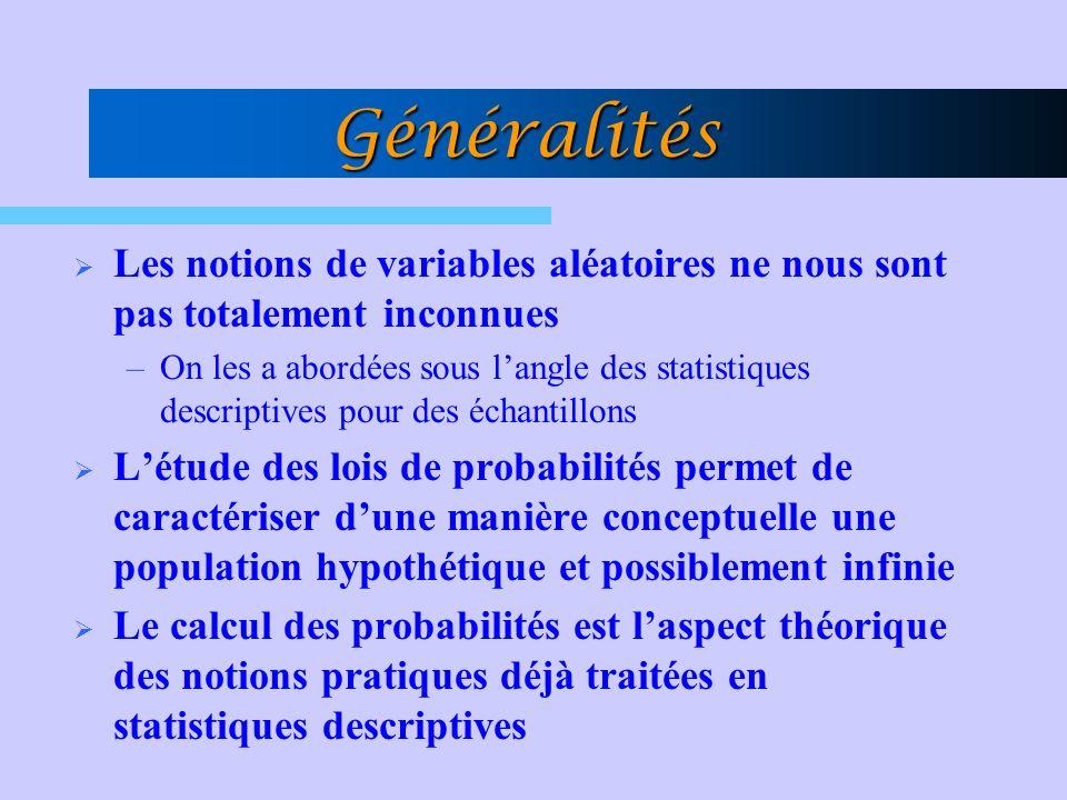 Généralités Les notions de variables aléatoires ne nous sont pas totalement inconnues.