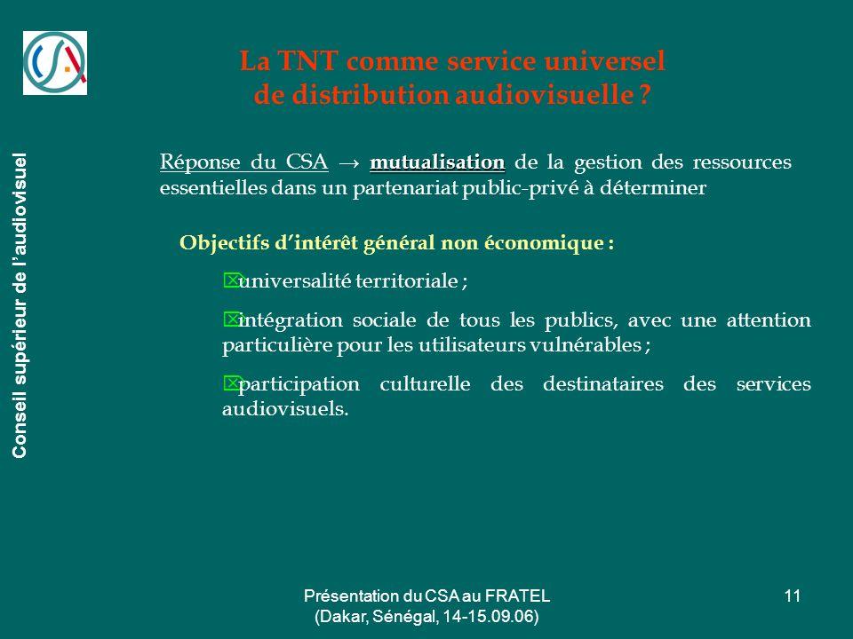 La TNT comme service universel de distribution audiovisuelle
