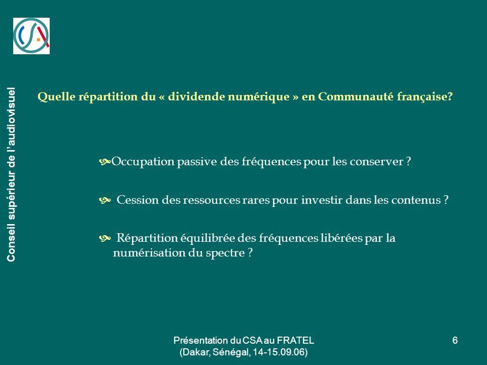 Présentation du CSA au FRATEL (Dakar, Sénégal, 14-15.09.06)