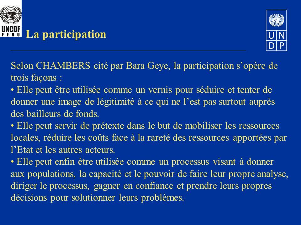 La participation Selon CHAMBERS cité par Bara Geye, la participation s'opère de trois façons :