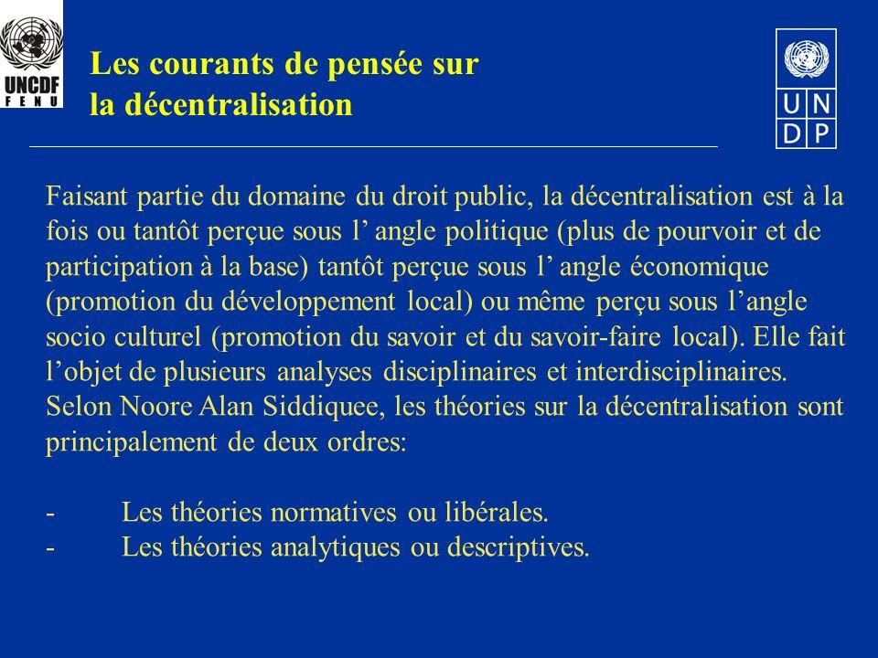 Les courants de pensée sur la décentralisation