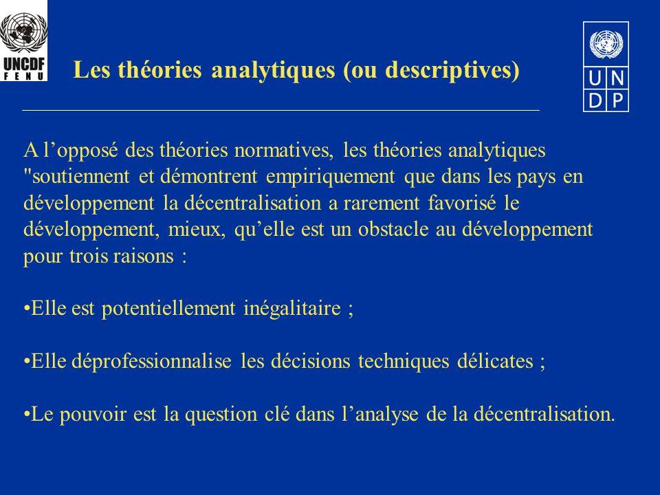 Les théories analytiques (ou descriptives)