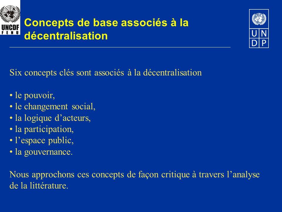 Concepts de base associés à la décentralisation