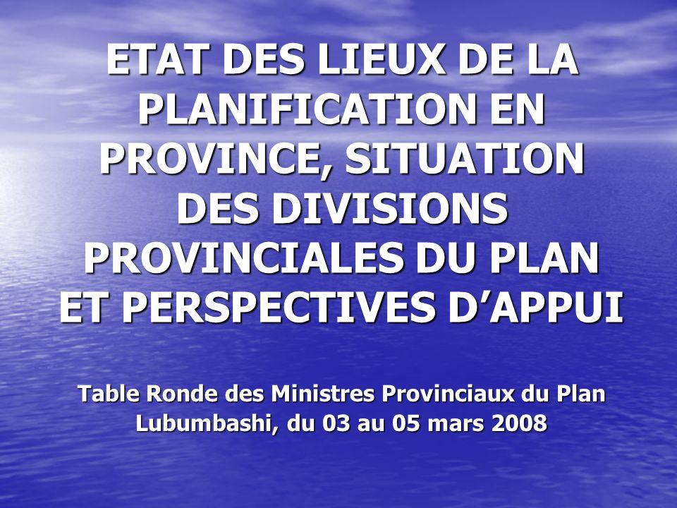 Table Ronde des Ministres Provinciaux du Plan