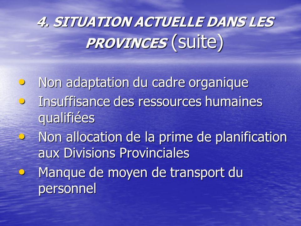 4. SITUATION ACTUELLE DANS LES PROVINCES (suite)