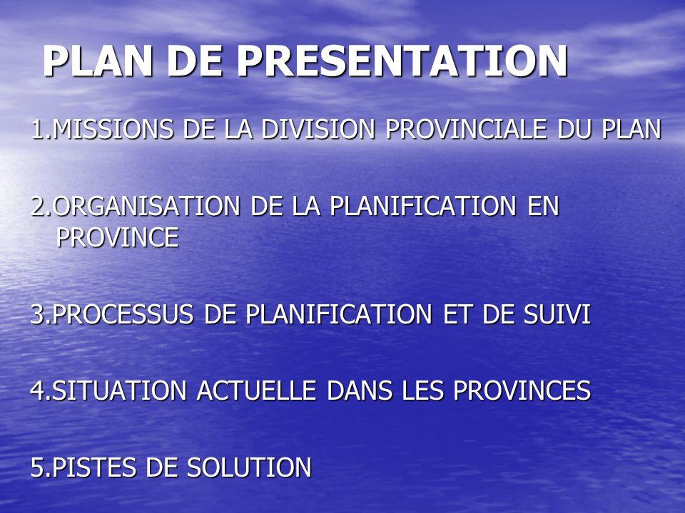 PLAN DE PRESENTATION 1.MISSIONS DE LA DIVISION PROVINCIALE DU PLAN