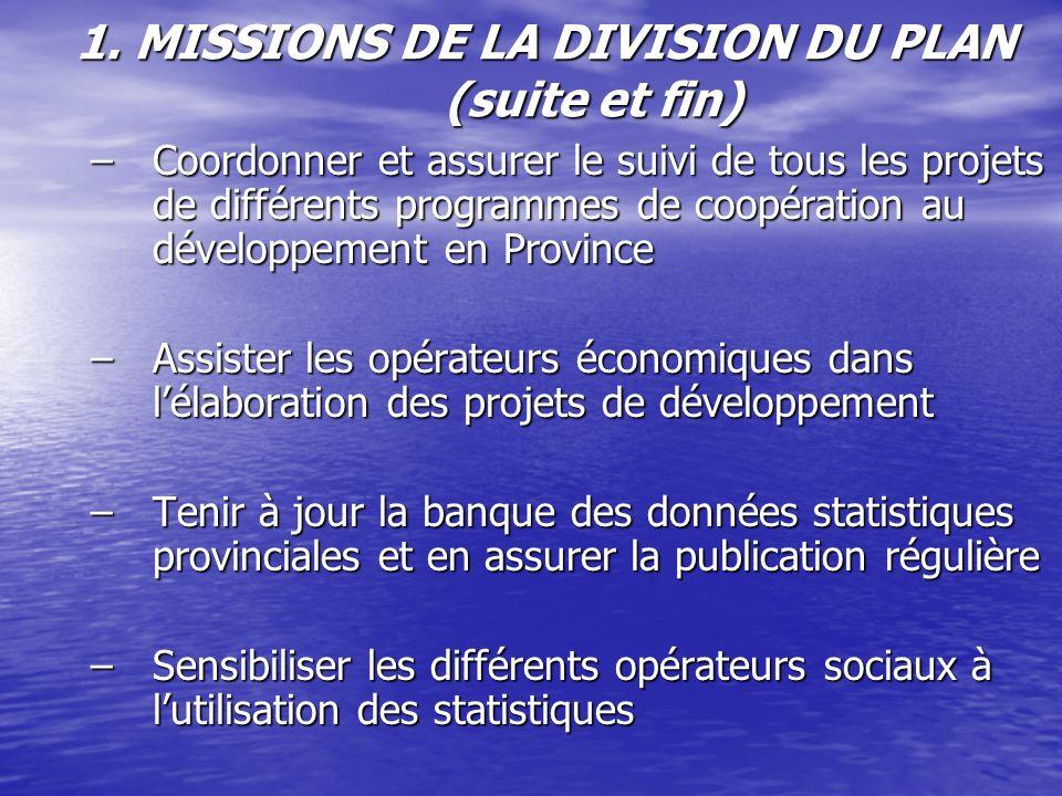 1. MISSIONS DE LA DIVISION DU PLAN (suite et fin)