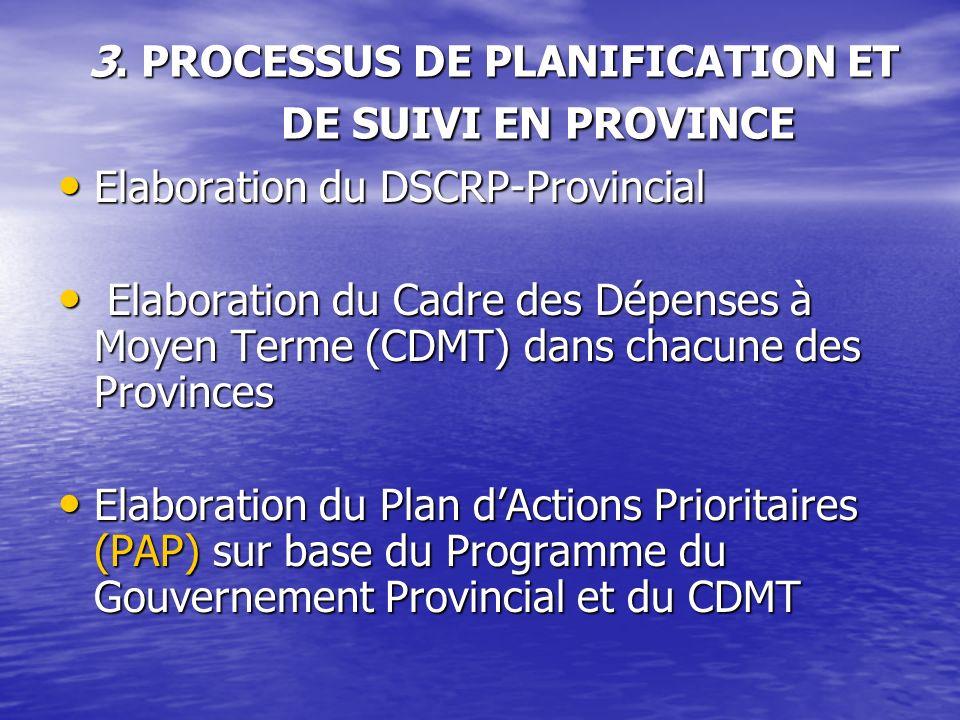 3. PROCESSUS DE PLANIFICATION ET DE SUIVI EN PROVINCE
