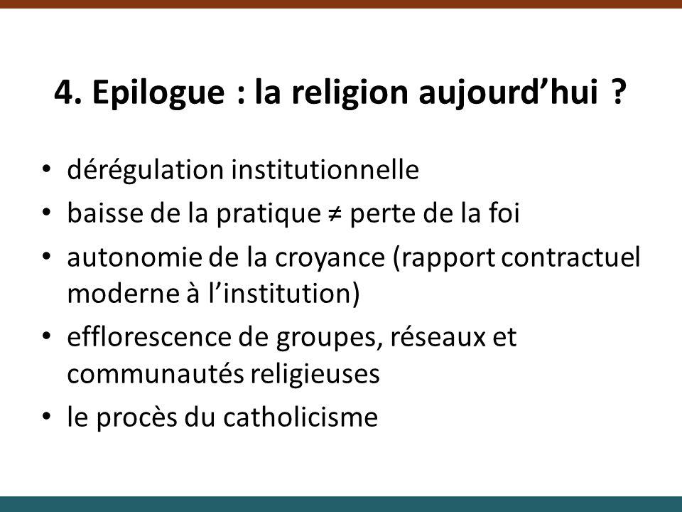 4. Epilogue : la religion aujourd'hui