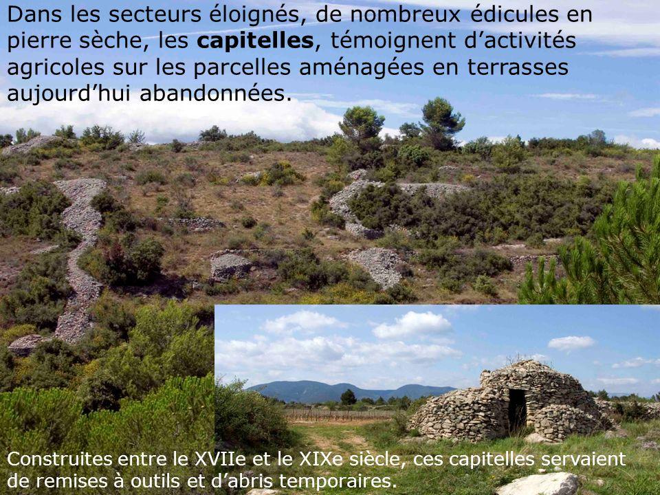 Dans les secteurs éloignés, de nombreux édicules en pierre sèche, les capitelles, témoignent d'activités agricoles sur les parcelles aménagées en terrasses aujourd'hui abandonnées.