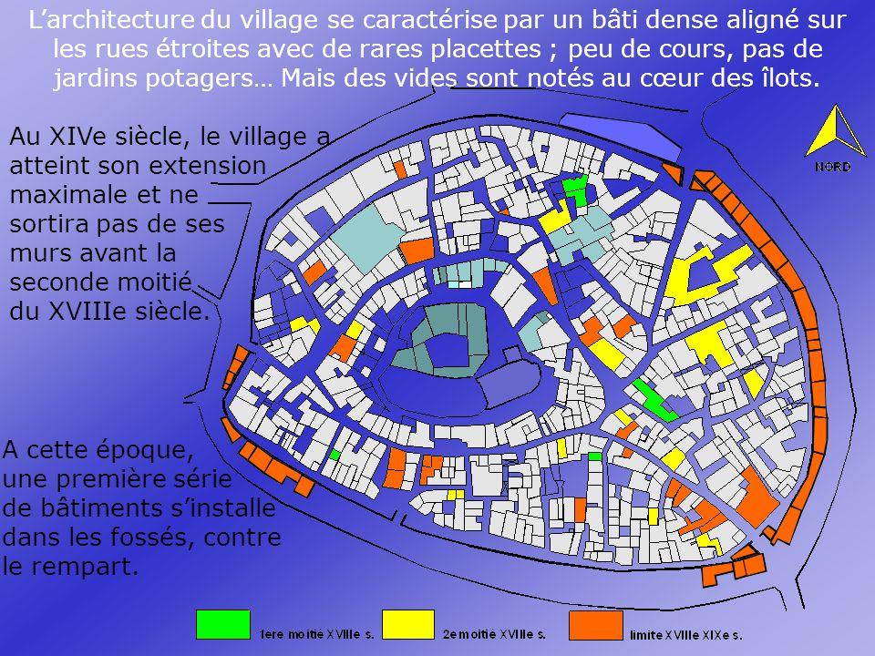 L'architecture du village se caractérise par un bâti dense aligné sur les rues étroites avec de rares placettes ; peu de cours, pas de jardins potagers… Mais des vides sont notés au cœur des îlots.
