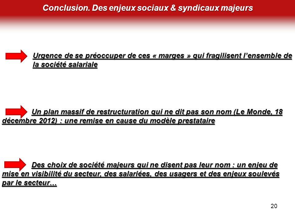 Conclusion. Des enjeux sociaux & syndicaux majeurs