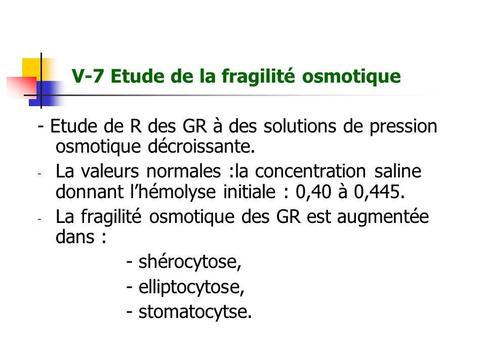 V-7 Etude de la fragilité osmotique
