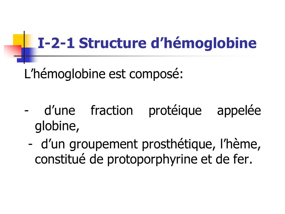 I-2-1 Structure d'hémoglobine