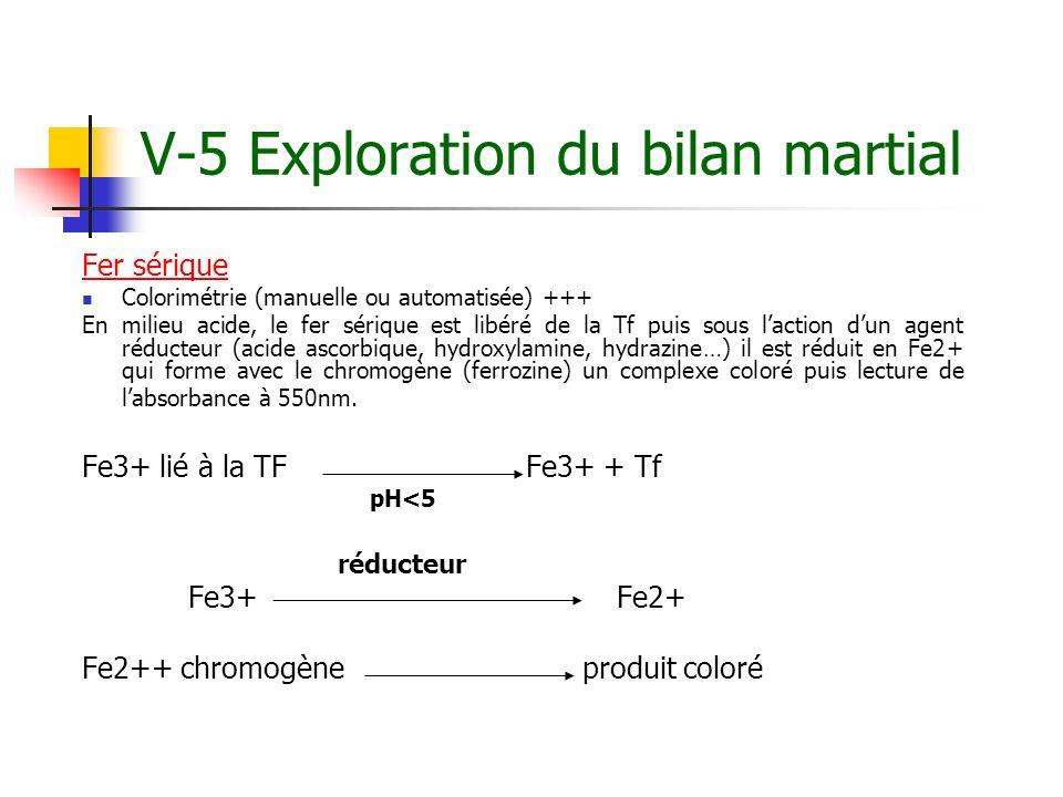 V-5 Exploration du bilan martial