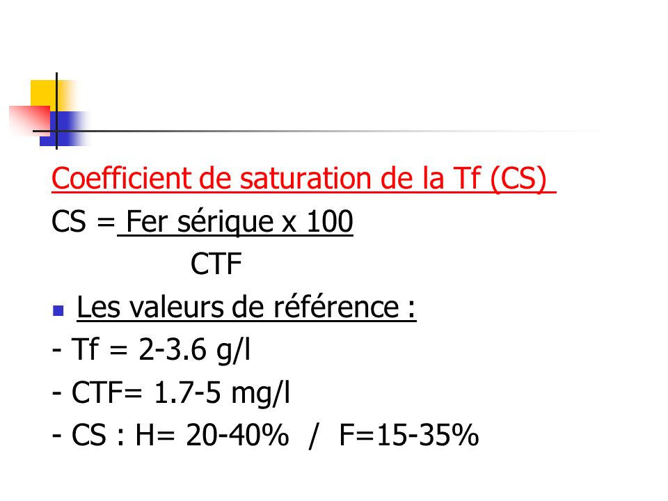 Coefficient de saturation de la Tf (CS)